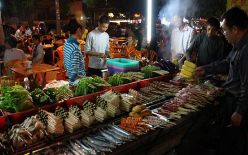 Yangon Street Food Night Market Along Strand Road